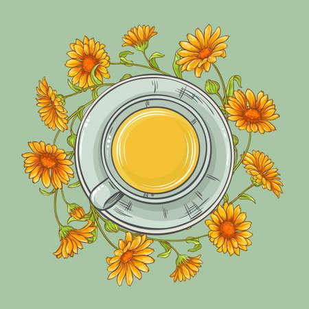 calendula: cup of calendula tea and calendula flowers