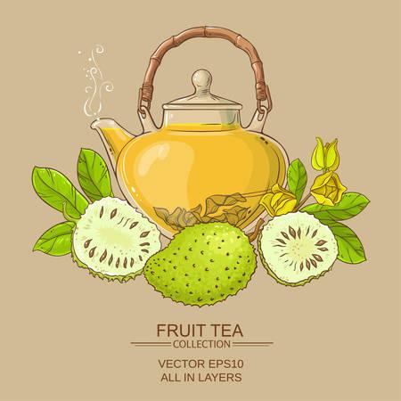 soursop tea vector background on color background