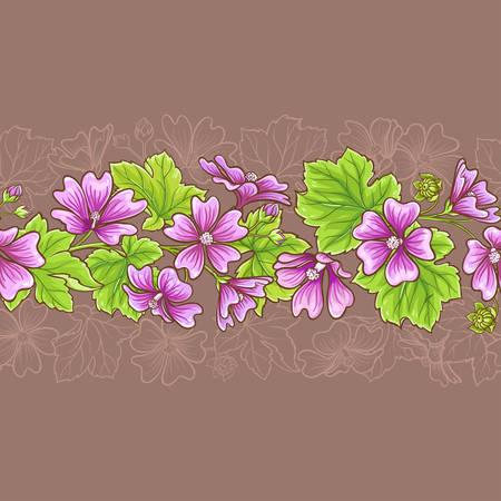 malva vector seamless pattern on color background