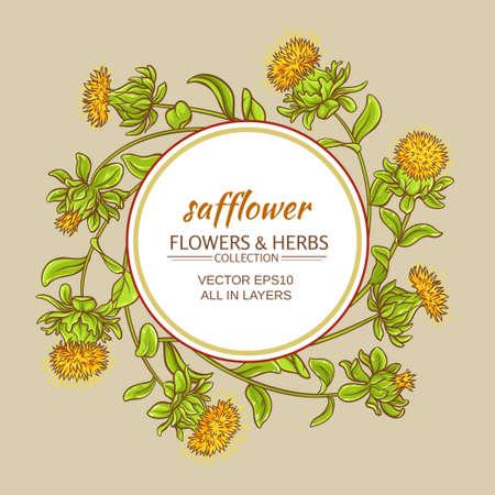 safflower plant vector frame on color background Stock Photo