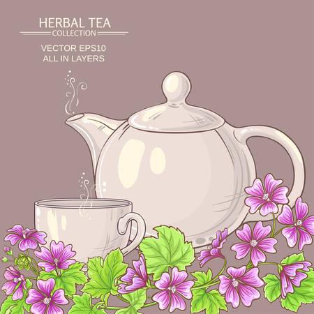 malva tea illustration Illustration
