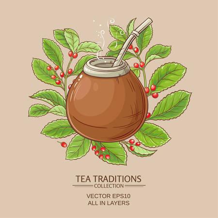 Mate-Tee in Calabash Vektorgrafik