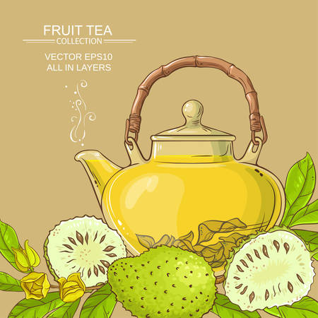 Soursop tea vector background on color background
