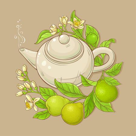 bergamot tea vector illustration