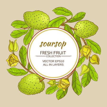 soursop tea vector frame on color background