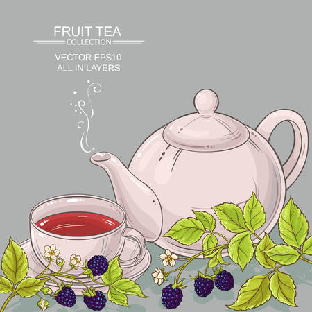 cup of blackberry tea and teapot on color background 向量圖像