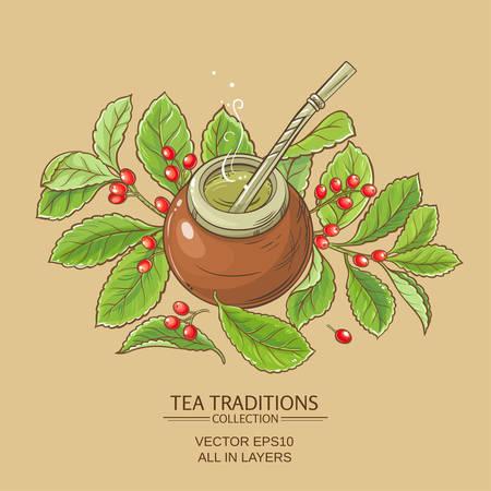 Mate Tee in Kalebasse auf Farbe Hintergrund Vektorgrafik