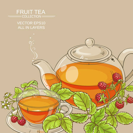 Cup of raspberry tea and teapot vector background