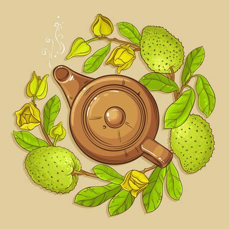 Soursop tea vector illstraton on color background