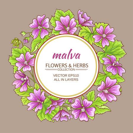 malva flowers vector frame on color background