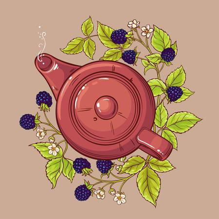 Blackberry tea in teapot Ilustração