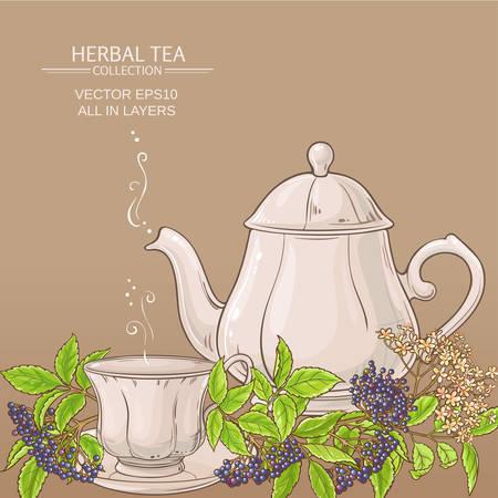 Cup of elderberry tea and teapot
