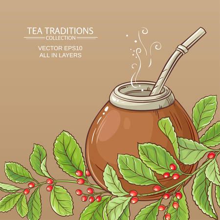 Mate Tee in Kalebasse Vektorgrafik