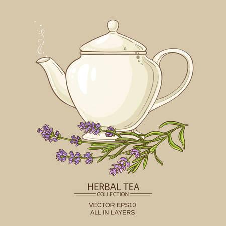 Lavender tea in teapot Illustration