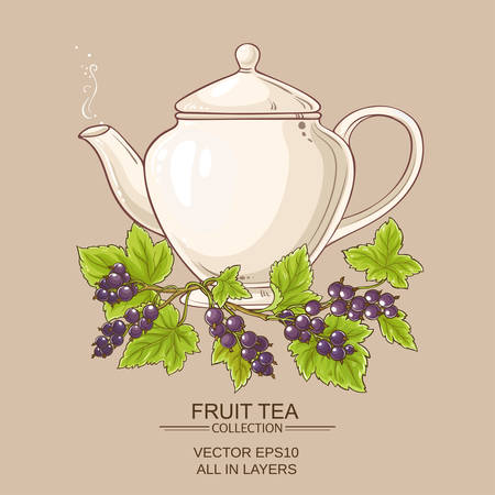 Black currant tea in teapot on color  background