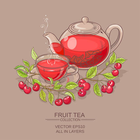 Cup of cherry tea and teapot on color background Illustration