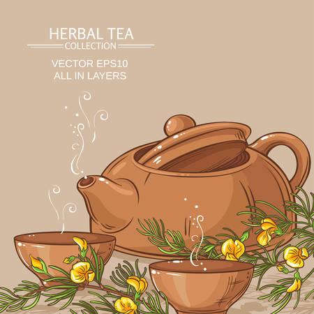 rooibos tea in teapot and tea bowls Illustration