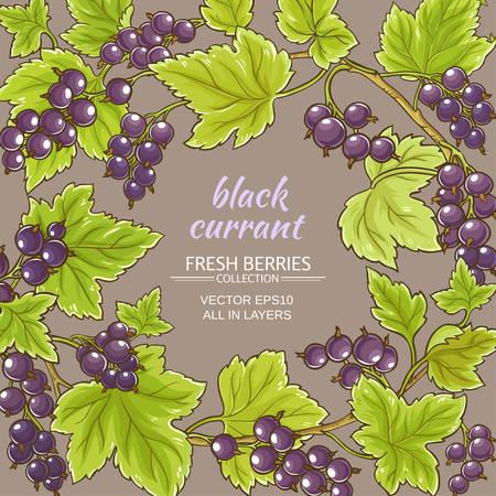 Schwarze Johannisbeere Vektor-Rahmen auf Farbe Hintergrund