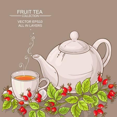 Becher der wilden Rose Hüften Tee und Teekanne Vektorgrafik