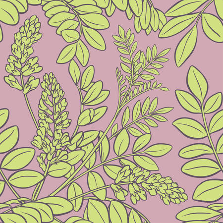 licorice branches seamless pattern on color background Illustration