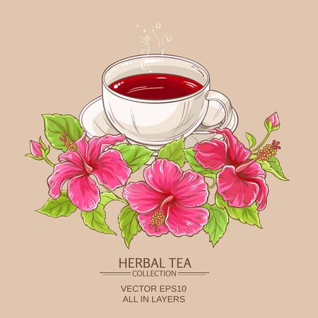 Cup of hibiscus tea Ilustrace