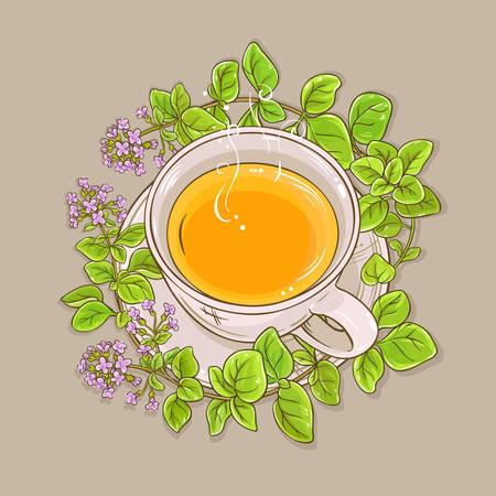 cup of oregano tea on color background Illustration