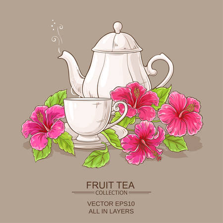 Cup of hibiscus tea and teapot on color background