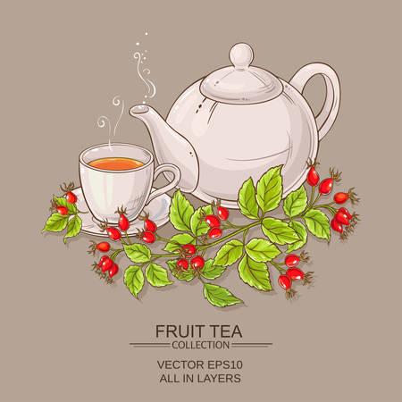 Mug of wild rose hips tea and teapot on color background