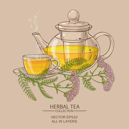 yarrow: cup of yarrow tea and teapot Illustration