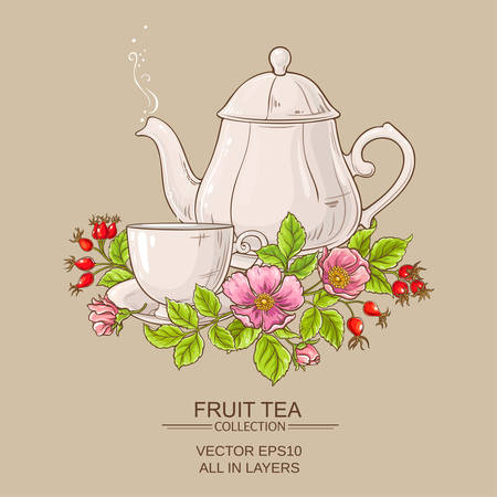dogrose: cup of dog rose tea and teapot Illustration