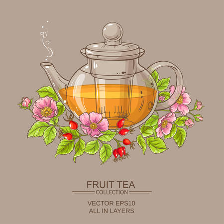 dog rose tea in teapot