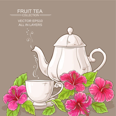 Cup of hibiscus tea and teapot on color background. Vector illustration.