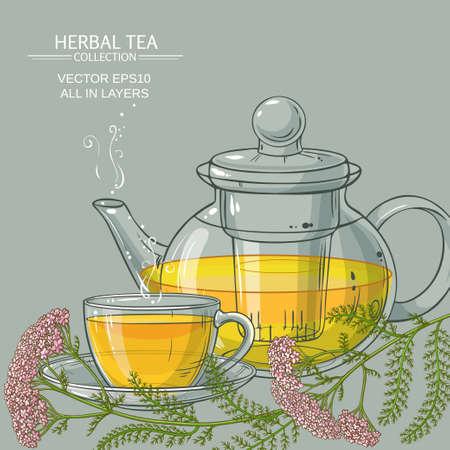 cup of yarrow tea and teapot on color background Zdjęcie Seryjne