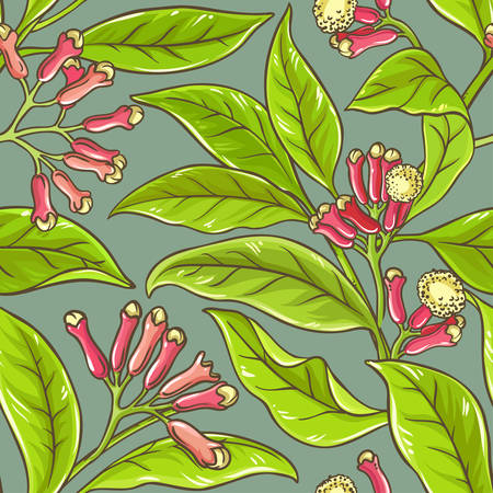 homeopathic: Clove branches vector pattern on color background