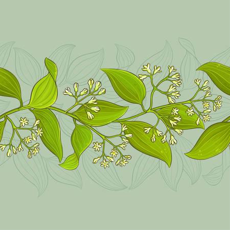 patten: Cinnamon branches vector pattern on color background, vector illustration. Illustration
