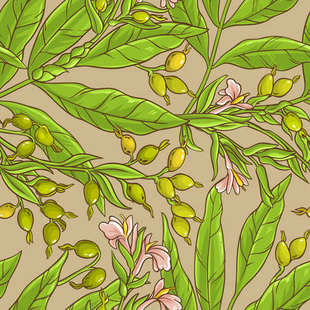 Cardamom branches vector pattern background
