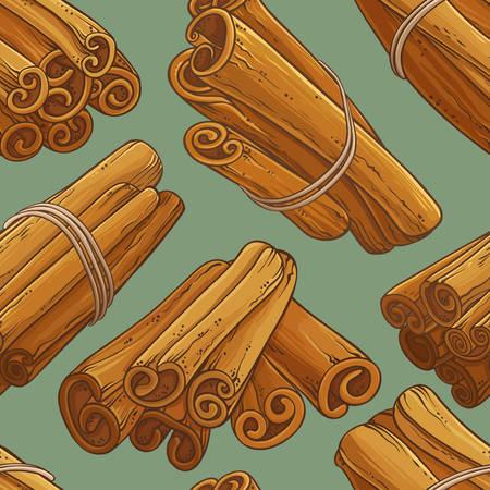 Cinnamon sticks vector pattern background Illustration