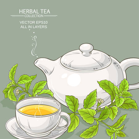 cup of  stevia tea and teapot on color background