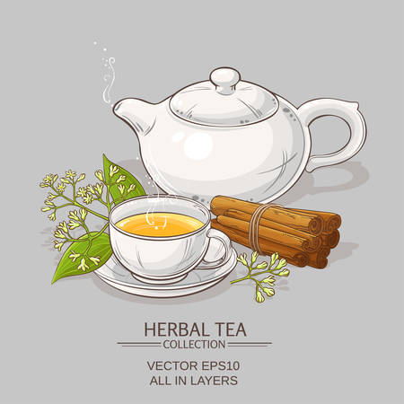 cup of cinnamon tea and teapot on color background