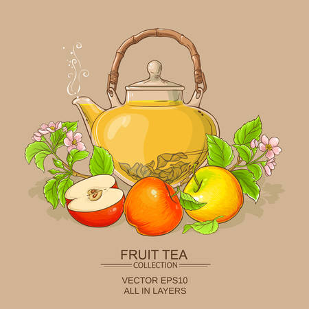 apple tea in teapot on color background