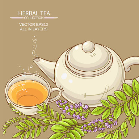 cup of licorice tea and teapot Illustration
