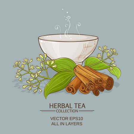 Cup of cinnamon tea. Illustration
