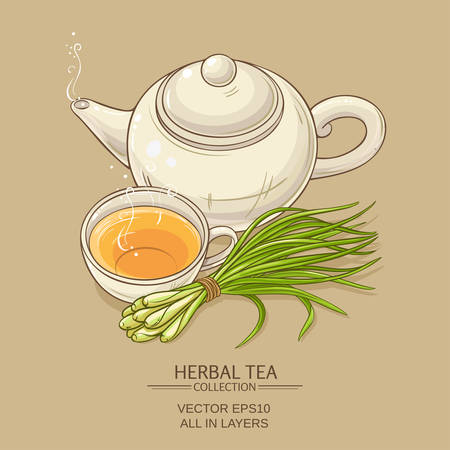 lemon grass: Cup of lemongrass tea and teapot on color background
