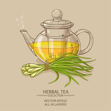 lemongrass tea in teapot on color background