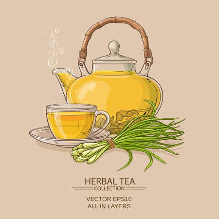 lemongrass tea: cup of lemongrass tea and teapot on color background