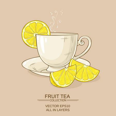 cup of lemon tea Vector illustration. Ilustracja
