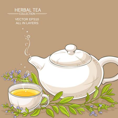 sage tea vector illustration on color background