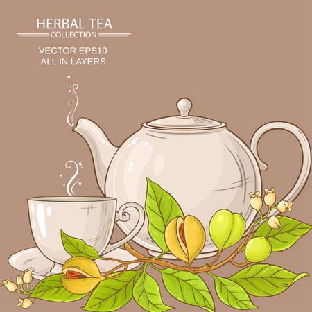 nutmeg tea vector illustration on color background
