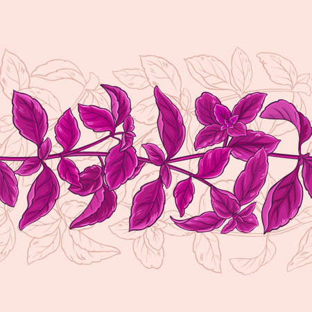 basilicum verlaat vector patroon op kleur achtergrond