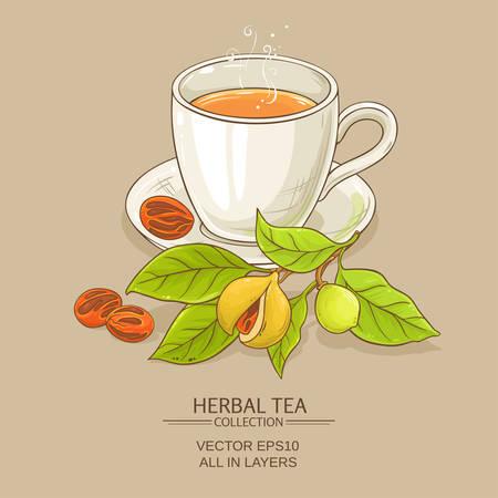 mug of nutmeg tea on color background Illustration